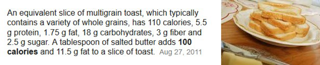 butter toast calories