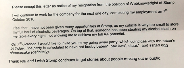 funny resgination letter