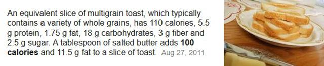 butter toast calories